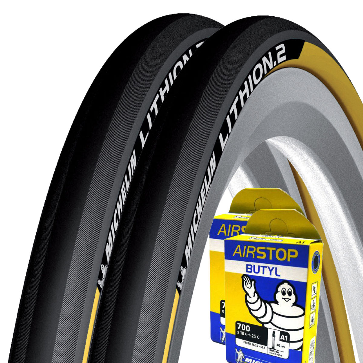 Michelin Lithion 2 Yellow 23c Tyres + Tubes   Tyres