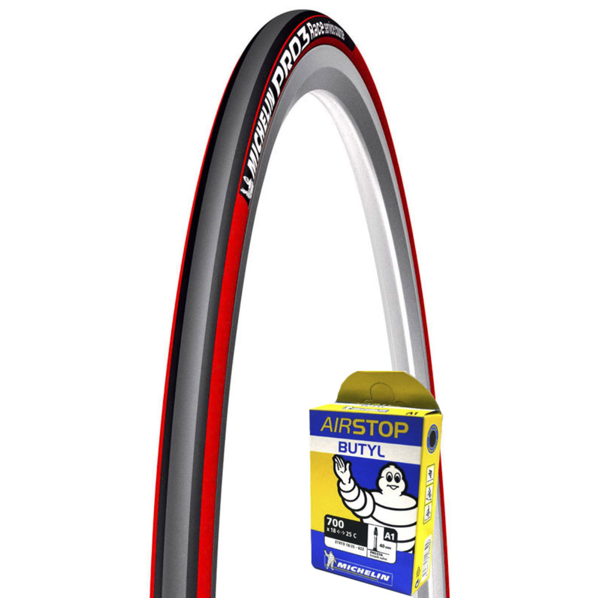 Michelin Pro 3 Red Grey 23c Tyre + Tube   Tyres