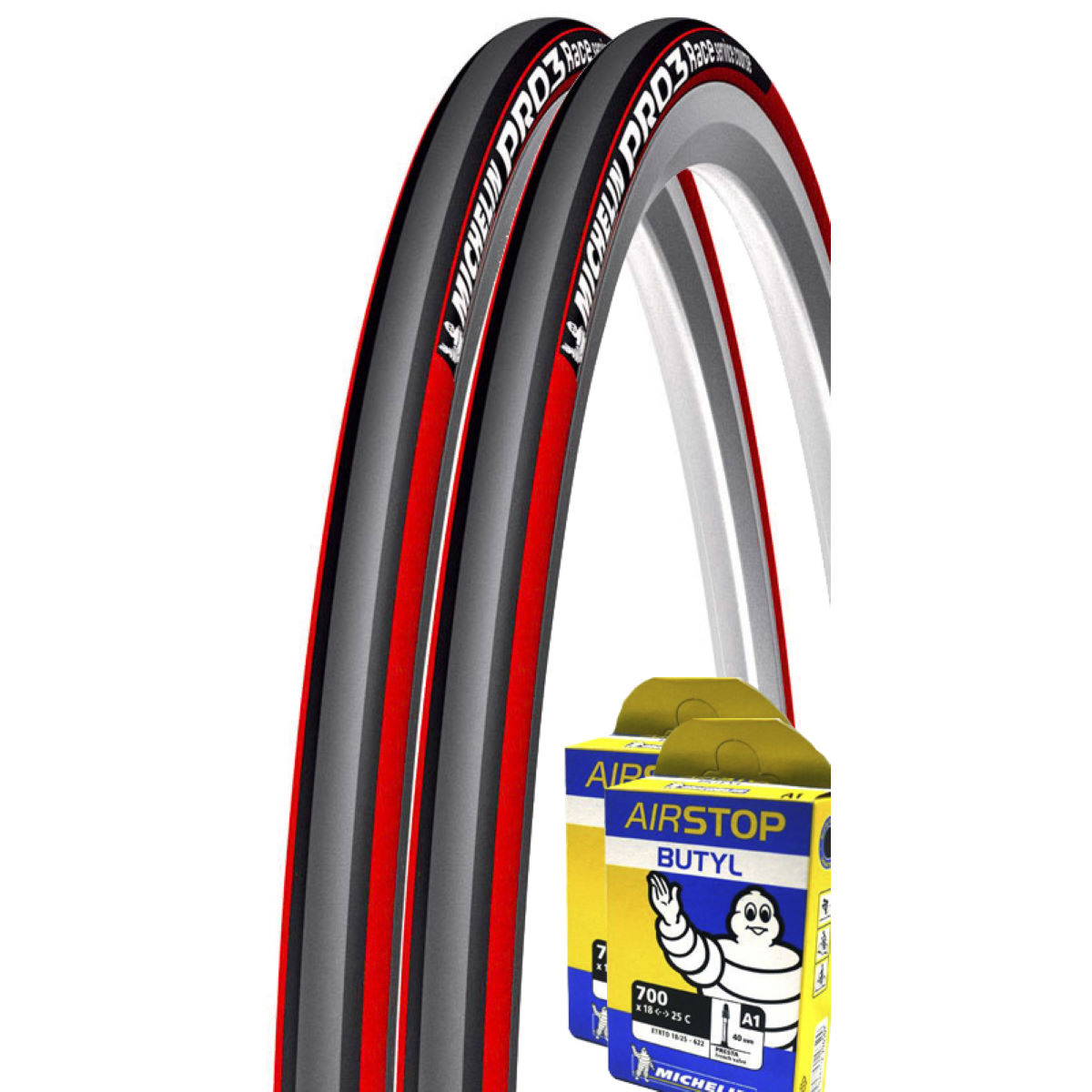 Michelin Pro 3 Red Grey 23c Tyres + Tubes   Tyres