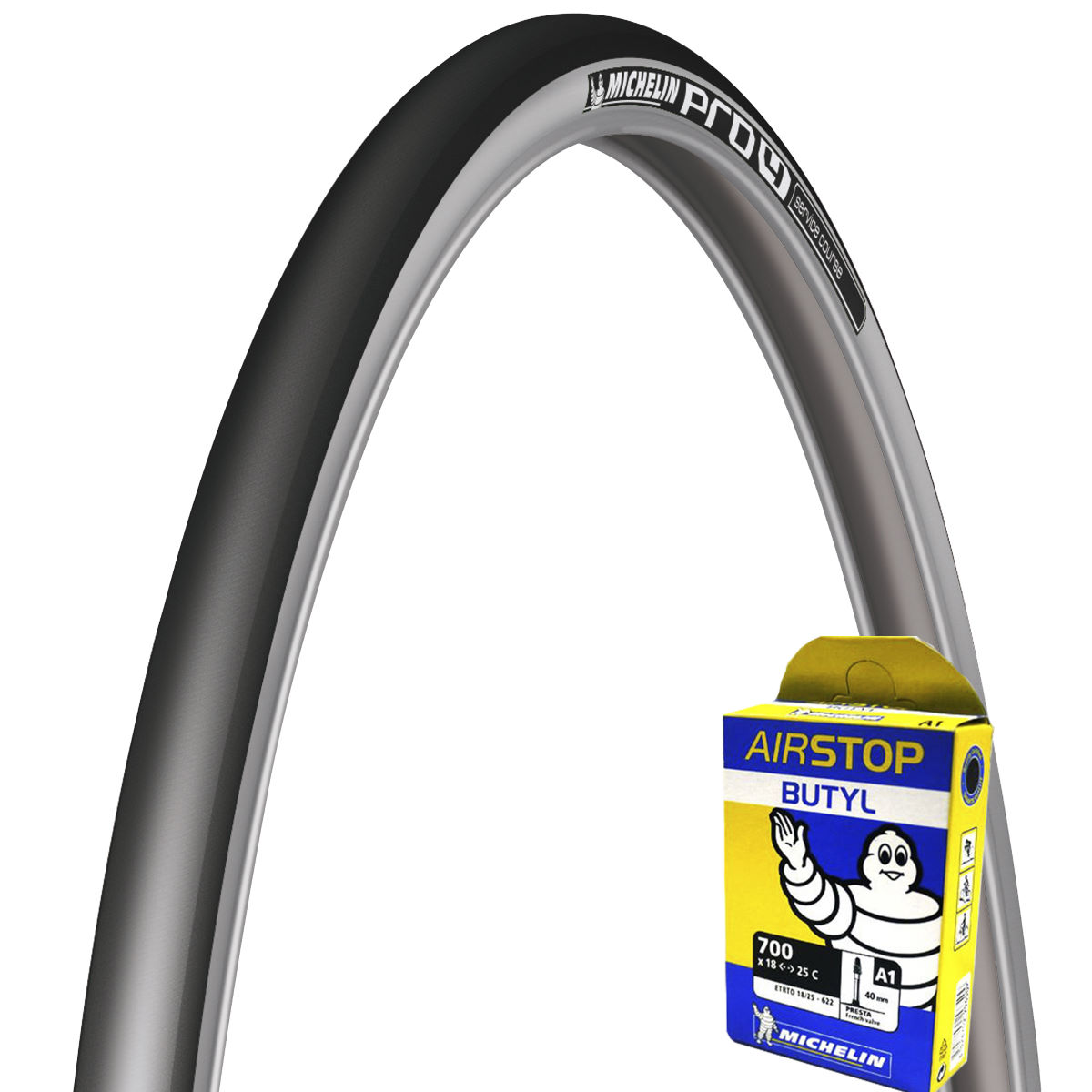 Michelin Pro 4 Service Course Silver 23c Tyre & Free Tube   Tyres