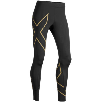 5db1c339a059e View in 360° 360° Play video. 1. /. 5. Black/Gold; 2XU Women's MCS Run  Compression ...