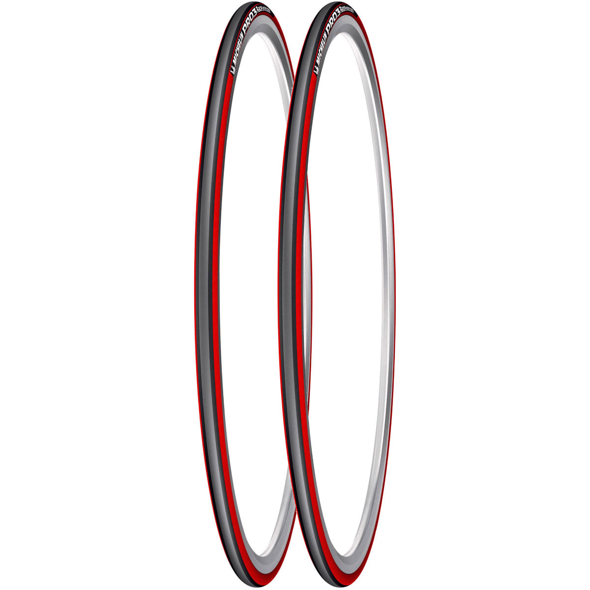 Michelin Pro 3 Race Road Tyres Red/Grey 23c - Pair   Tyres