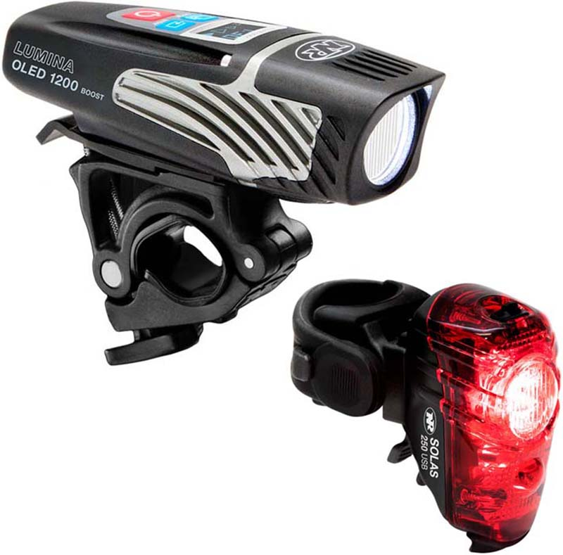 NiteRider Lumina 1200 Oled Boost/Solas 250 Combo Light Set | Computer Battery and Charger