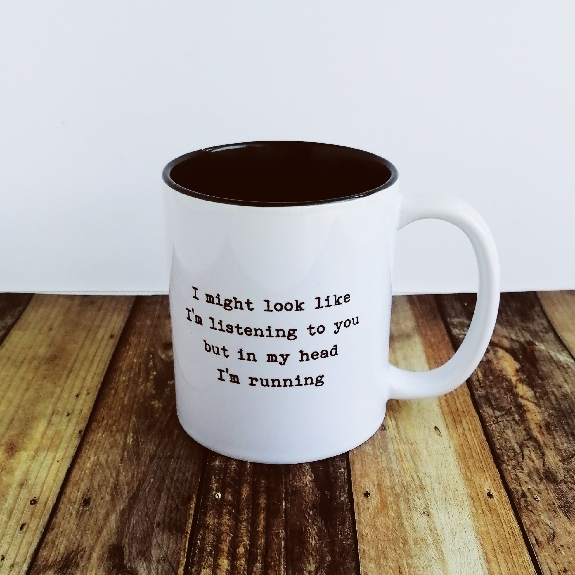Worry Less Designs In My Head I'm Running Mug | multimedier tilbehør
