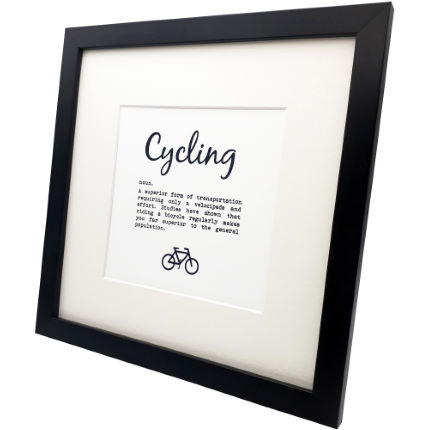 Worry Less Designs Cycling Definition Framed Print