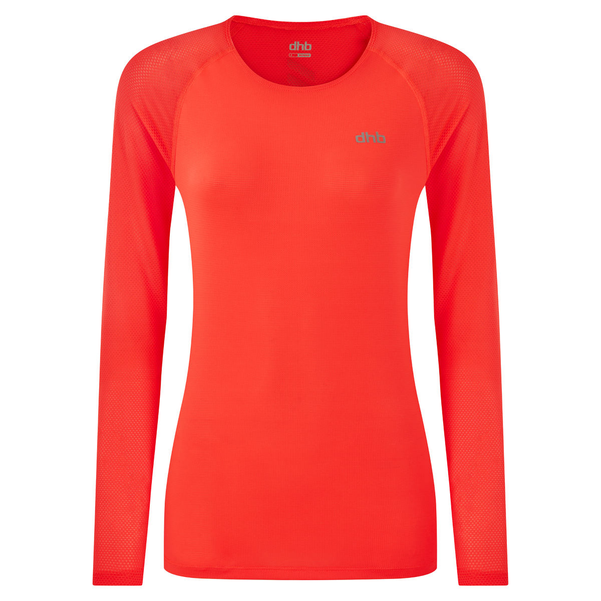 Dhb Aeron Womens Long Sleeve Run Top - Uk 8 Firey Coral