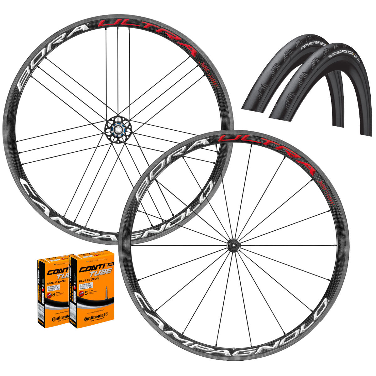 Campagnolo Bora Ultra 35 Clincher Wheels GP4000s II Bundle - Wheel sets
