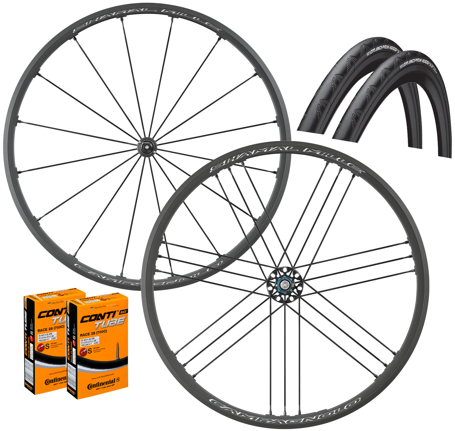 Campagnolo Shamal Mille C17 Clincher Wheels GP4000s II Bundle | Wheelset