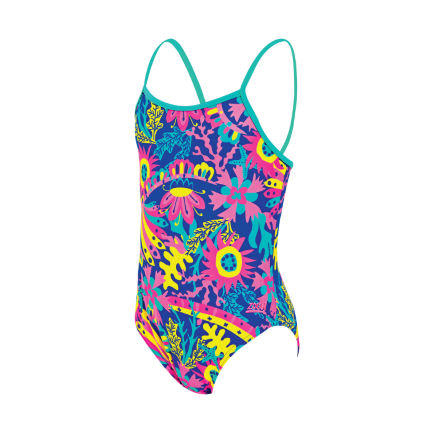 Zoggs Girls Ocean Play Yaroomba Floral Swimsuit