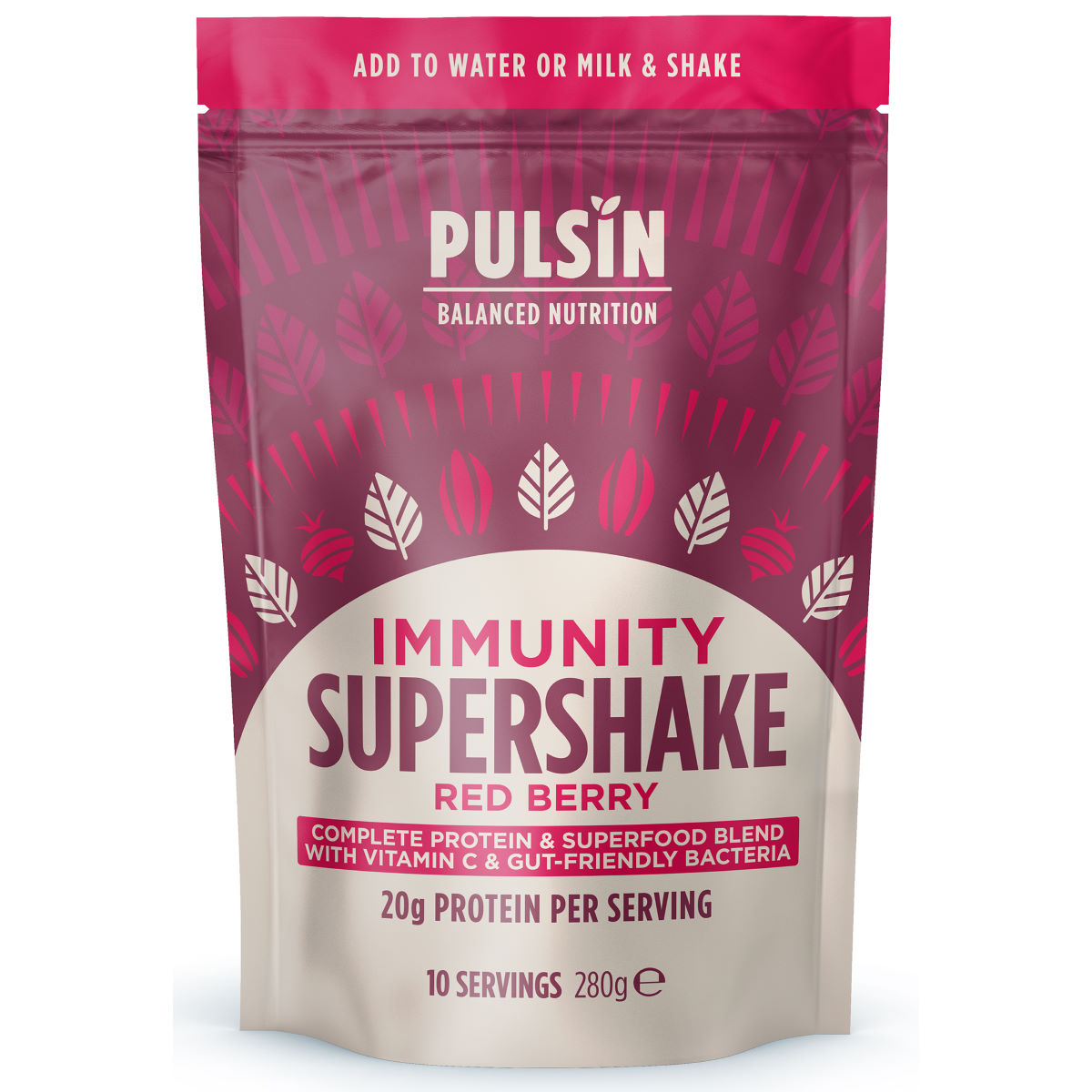 Pulsin Supershake Protein Powder (300g) - 8 X 28g Immunity Red Berry