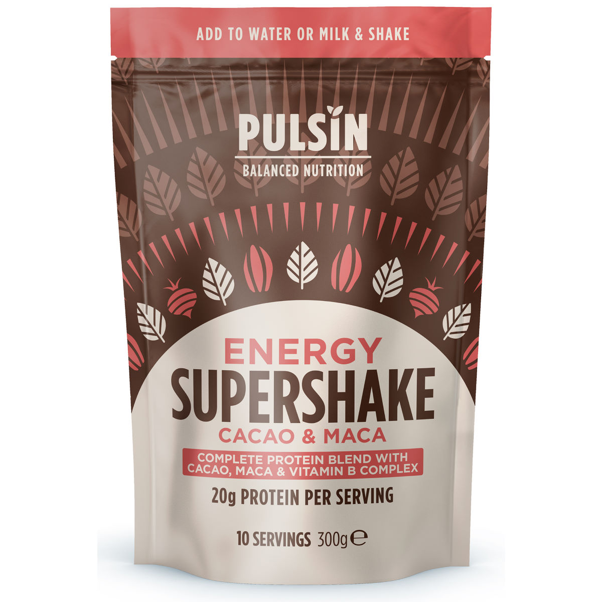 Pulsin Supershake Protein Powder (300g) - 300g Energy CacaoandMaca