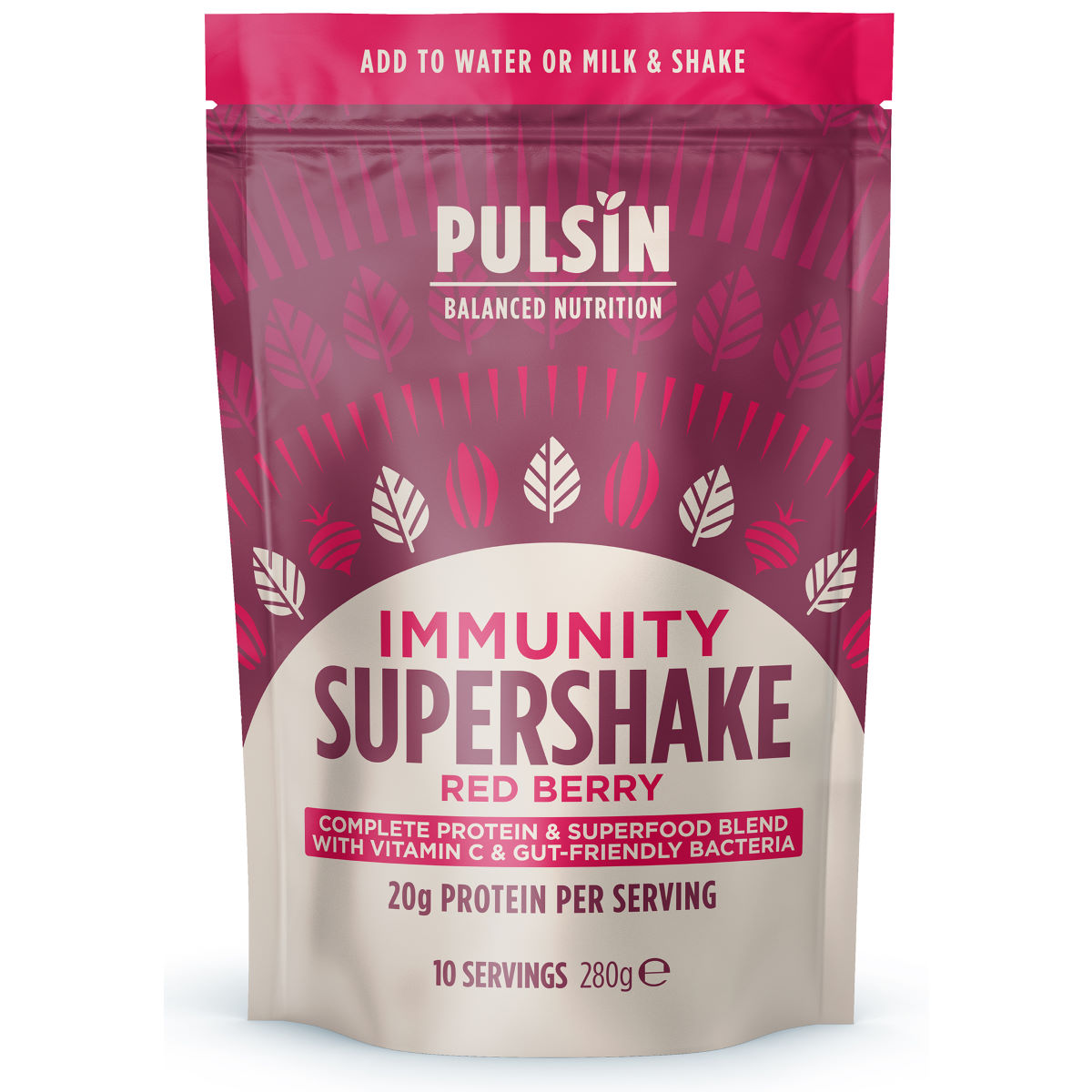 Pulsin Supershake Protein Powder (300g) - 280g Immunity Red Berry