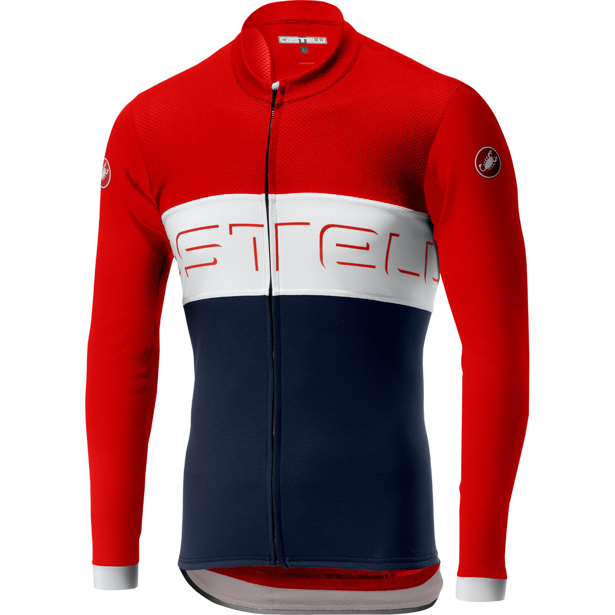 Castelli Prologo VI Long Sleeve FZ Jersey – XL Fiery Red/Ivory/Dark