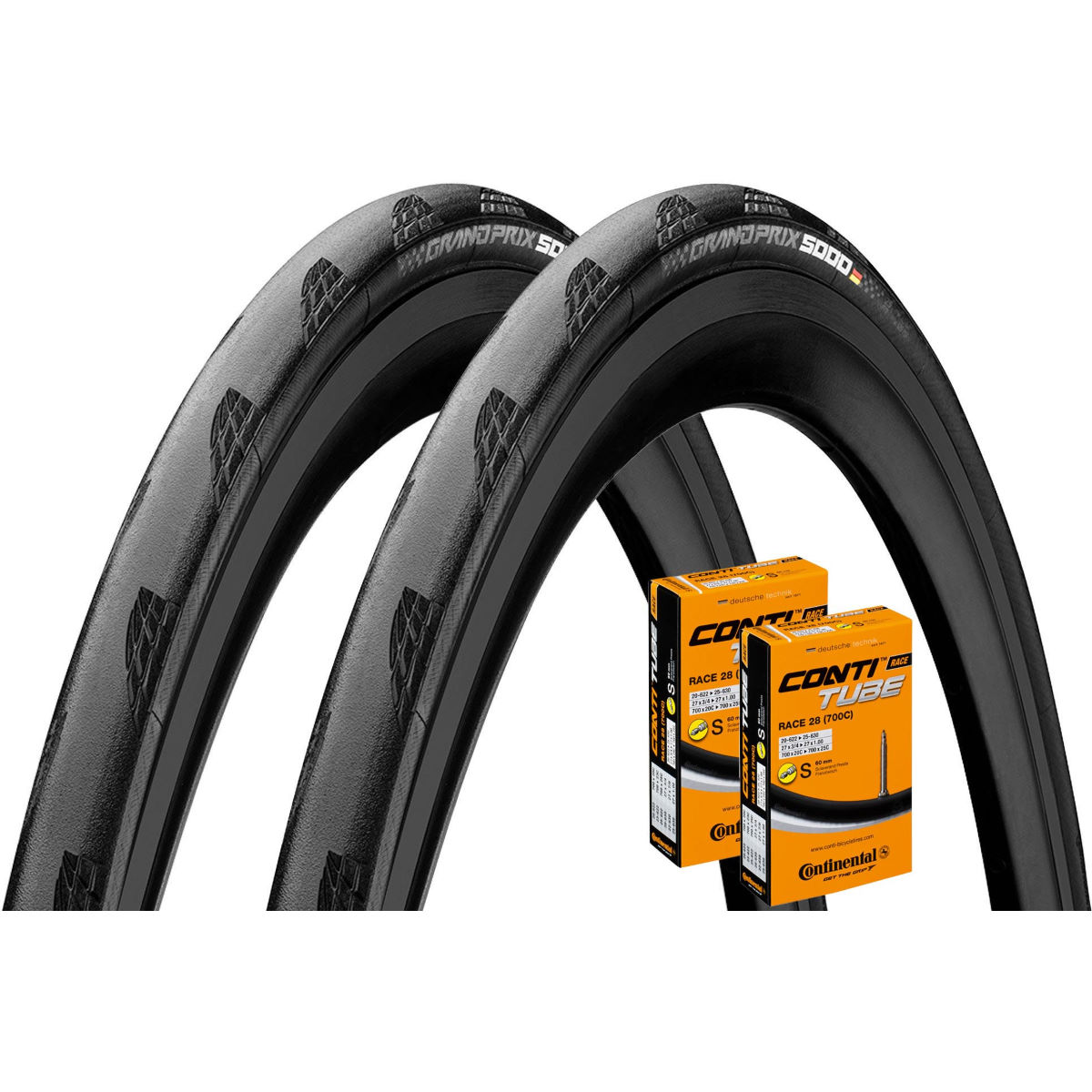 Continental Continental Grand Prix 5000 25c Tyres + Tubes - Pair   Tyres