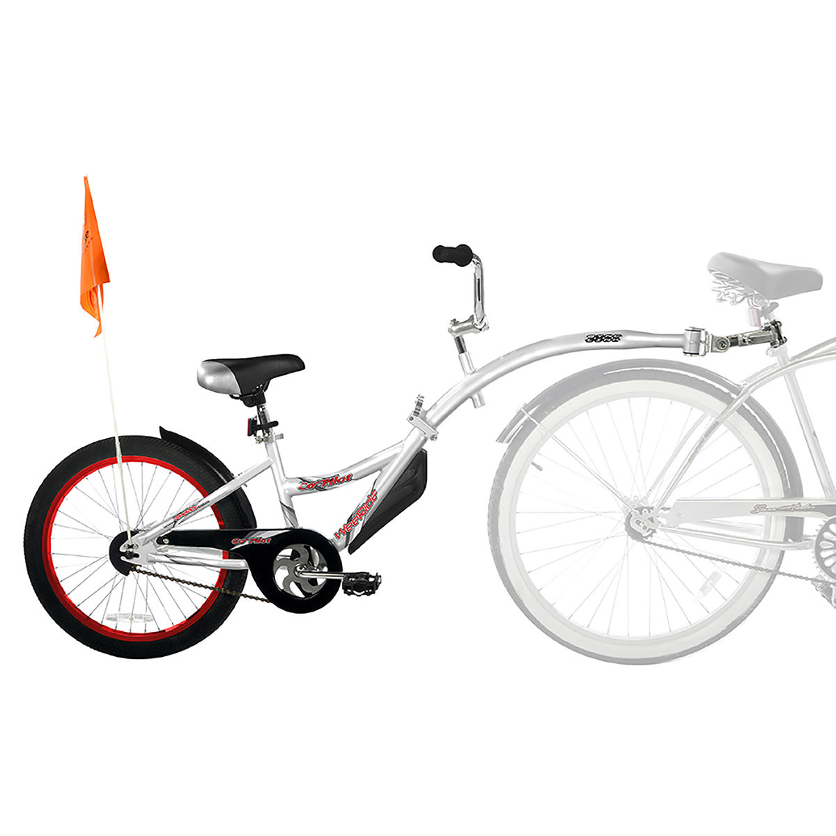 WeeRide  Co Pilot Tagalong Trailer Bike – Silver | Child Trailers