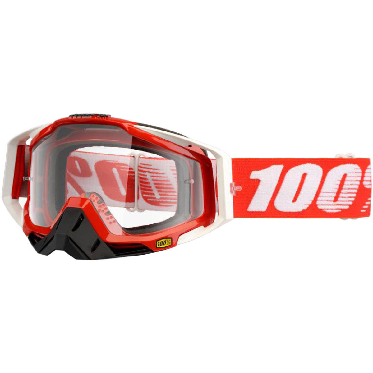 100% Racecraft Goggle - Clear Lens - One Size Fire Red