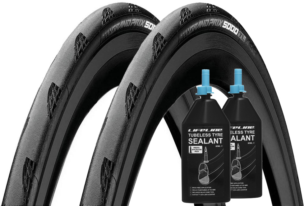 Continental Grand Prix 5000 Tubeless Tyres and Sealant 32c | Tyres