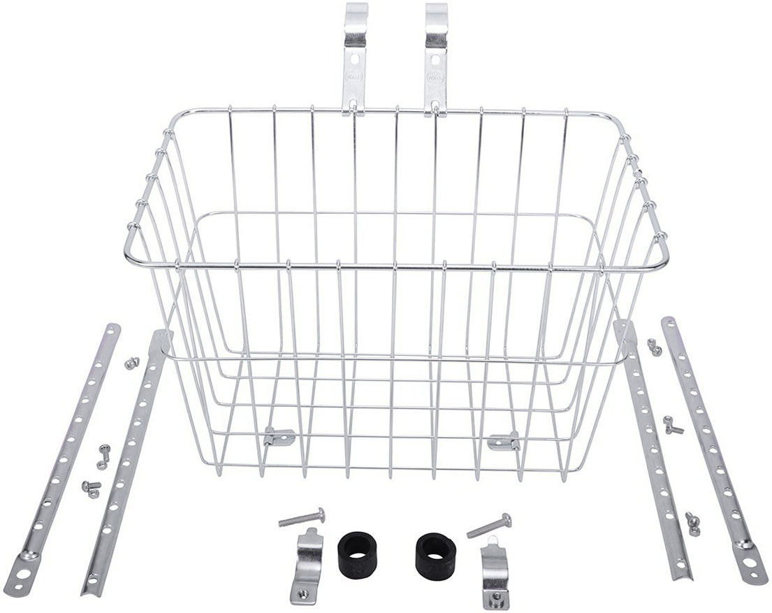 Wald 1352 Front Grocery Basket with Adjustable Legs Silver