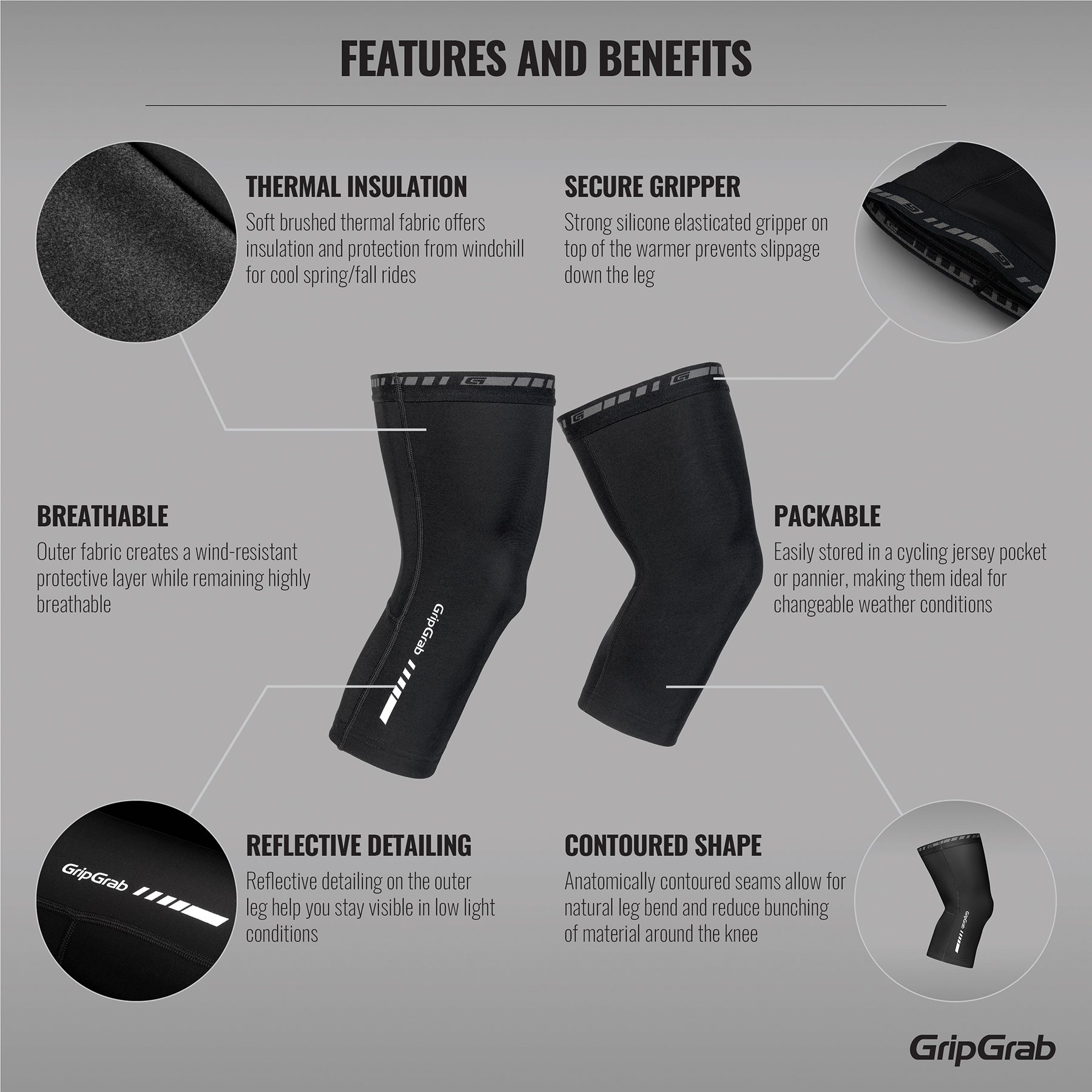 GripGrab Classic Thermal Knee Warmers | Warmers