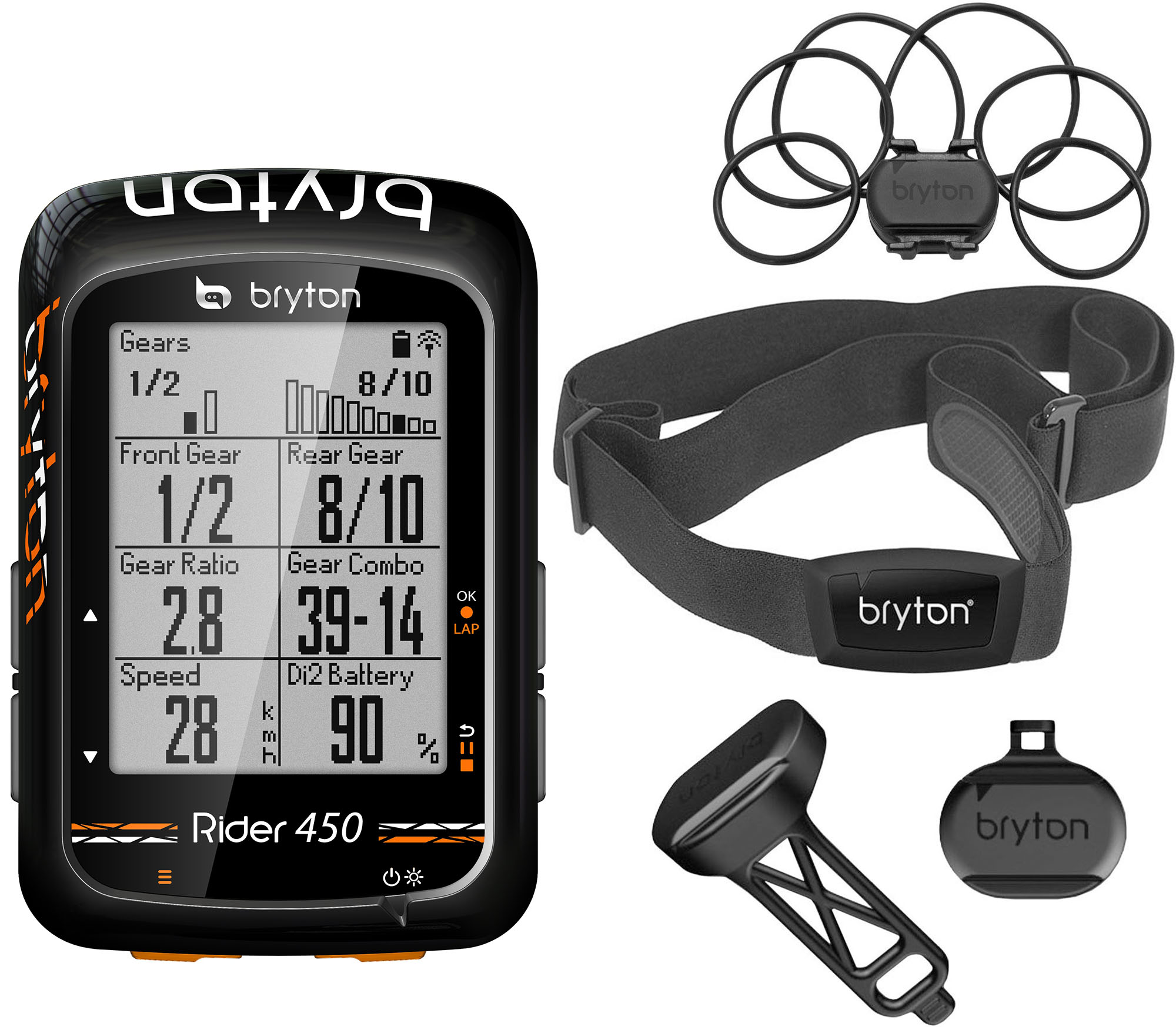 Wiggle | bryton Rider 450 With Cadence + Speed + HRM Bundle | Computers | Cycle computers
