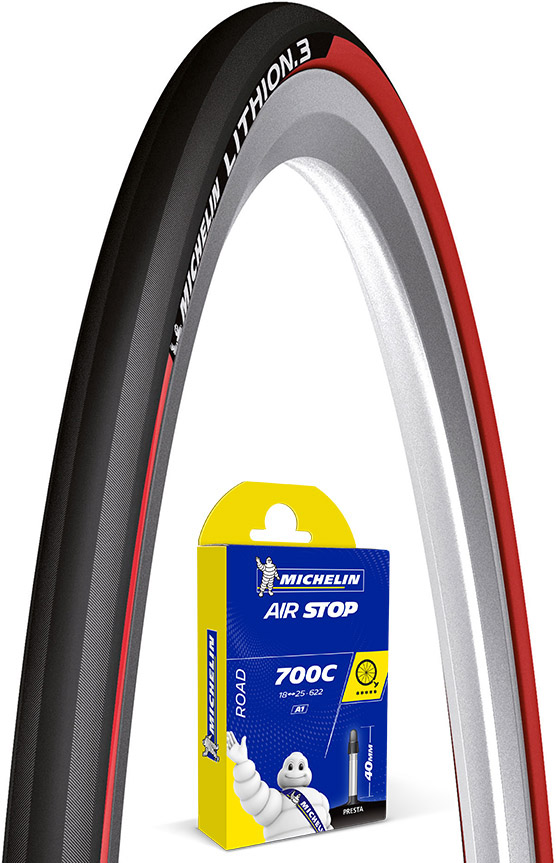Michelin Lithion 3 Red 23c Tyre + Tube | Dæk