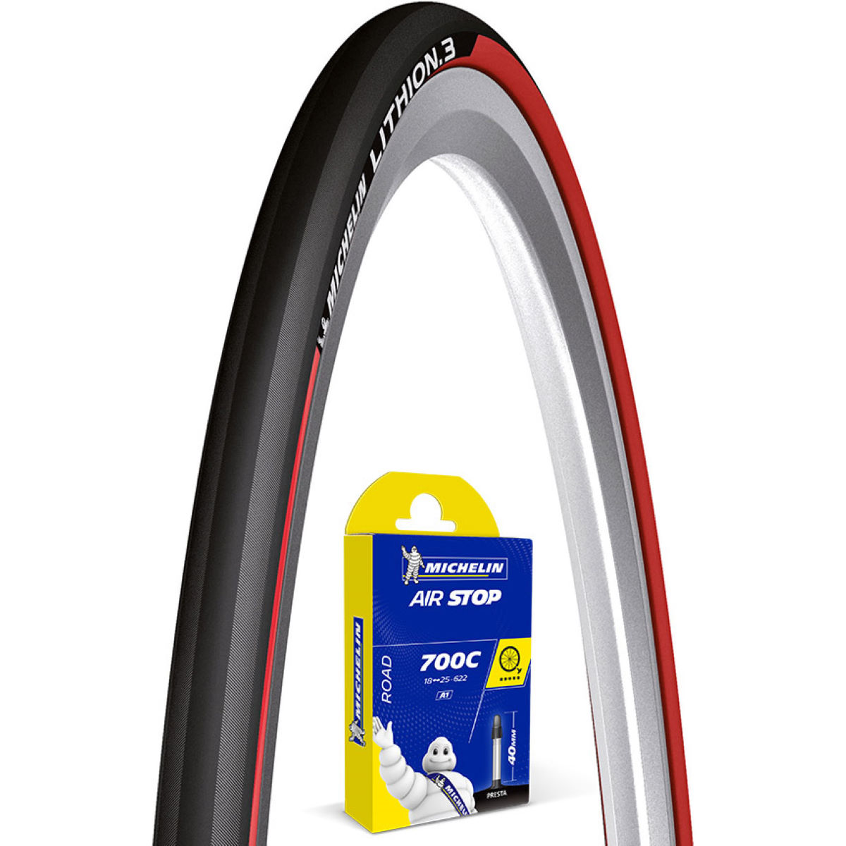 Michelin Lithion 3 Red 25c Tyre + Tube   Tyres