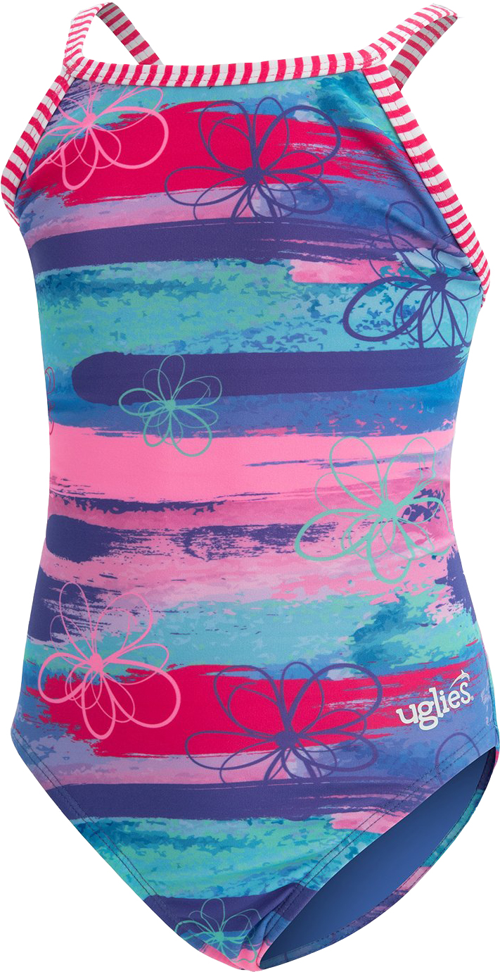 Dolfin Girl's Uglies Print Keyhole Surfs Up Swimsuit | swim_clothes