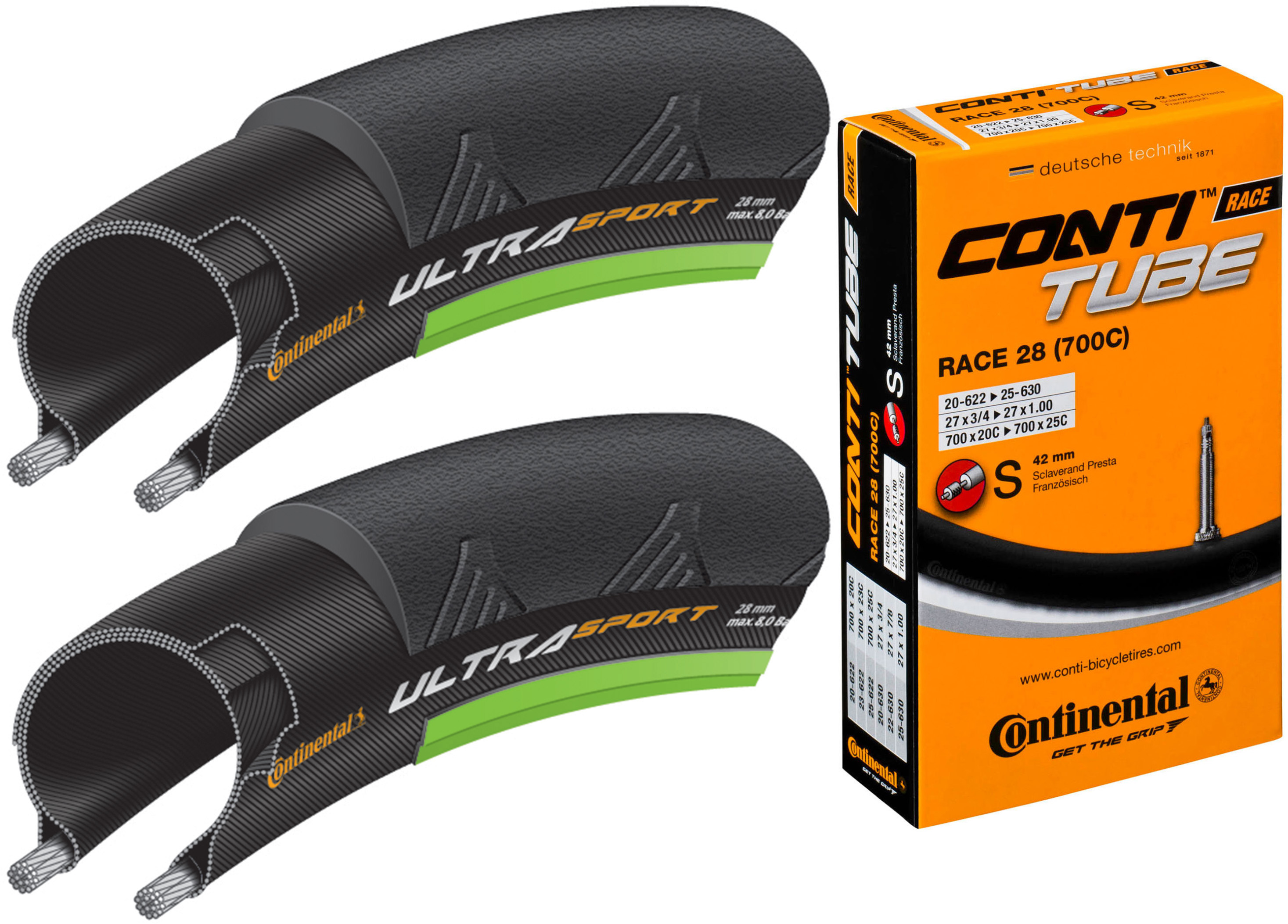Continental Ultra Sport II Green 25c Tyres + Tubes   Tyres