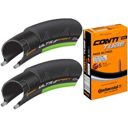 Continental Ultra Sport II Green 25c Tyres + Tubes