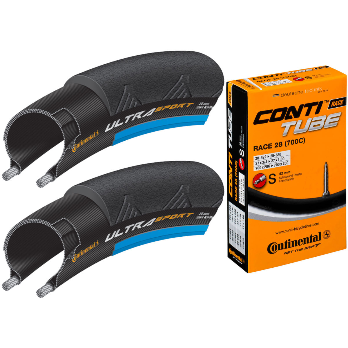 Continental Ultra Sport II Blue 23c Tyres + Tubes   Tyres