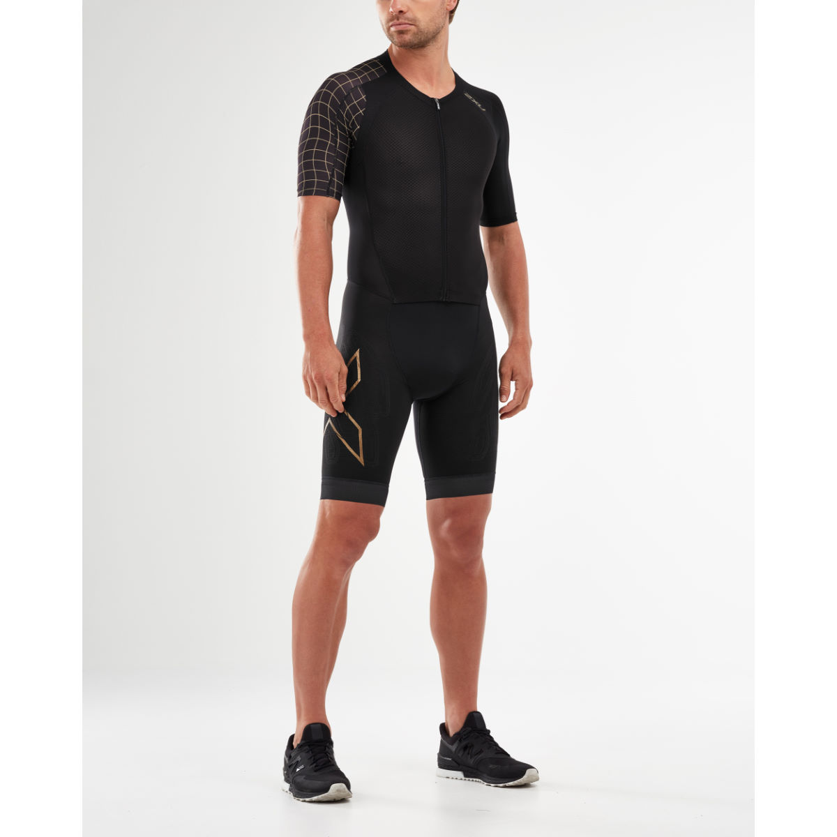 2xu Comp Full Zip Sleeved Trisuit - Extra Extra Large Black/gold