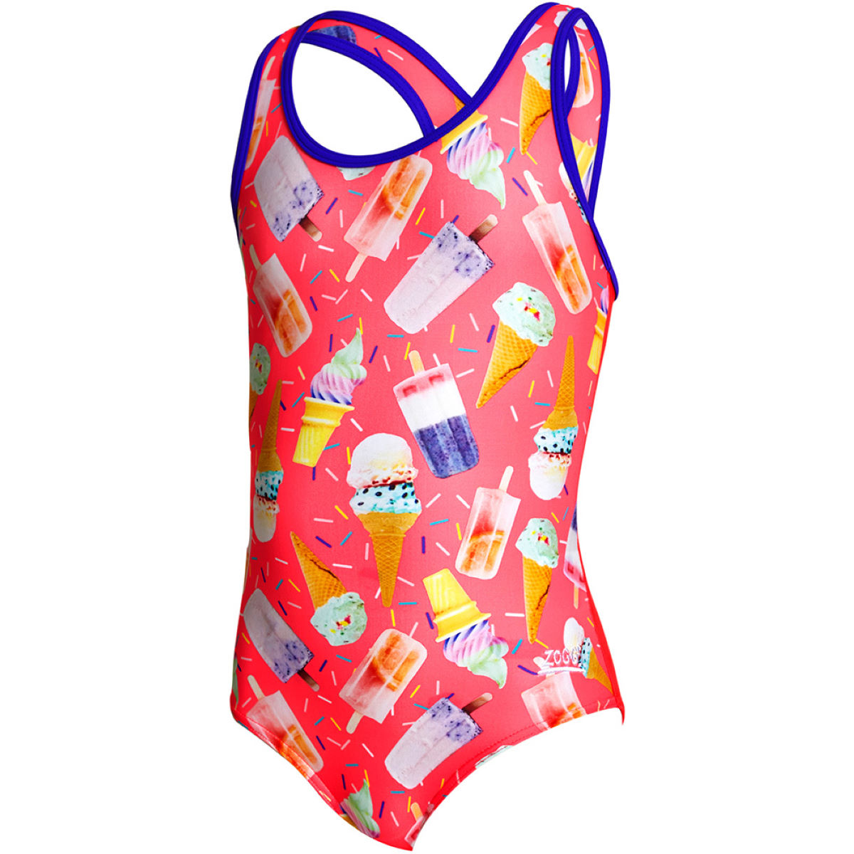 Image of Zoggs Girls Ice Dream Actionback Swimsuit One Piece Swimsuits