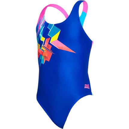 Zoggs Girls Digital Geo Rowleeback Swimsuit