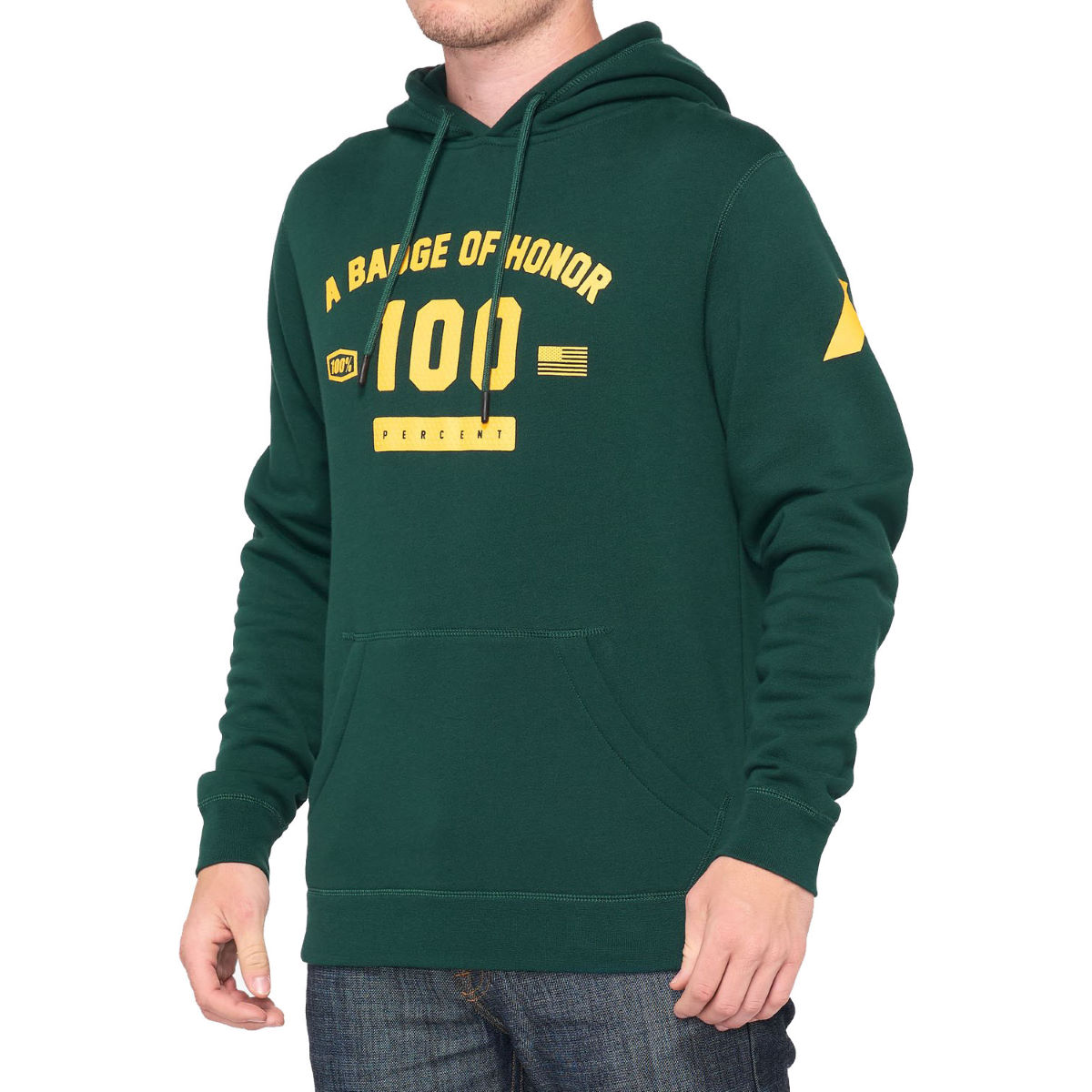 100% Tribute Hooded Pullover Sweatshirt - Extra Large Dark Green