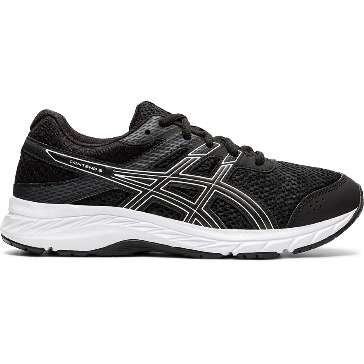 Asics Contend 6 GS Running Shoes - UK 2.5 BLACK/WHITE | Running Shoes