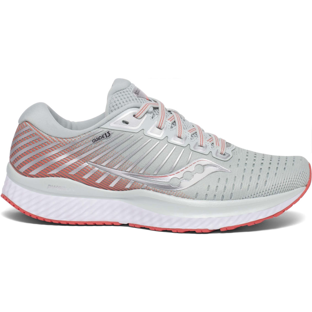 Saucony Women's Guide 13 Running Shoes - 9.5 Sky Grey / Coral