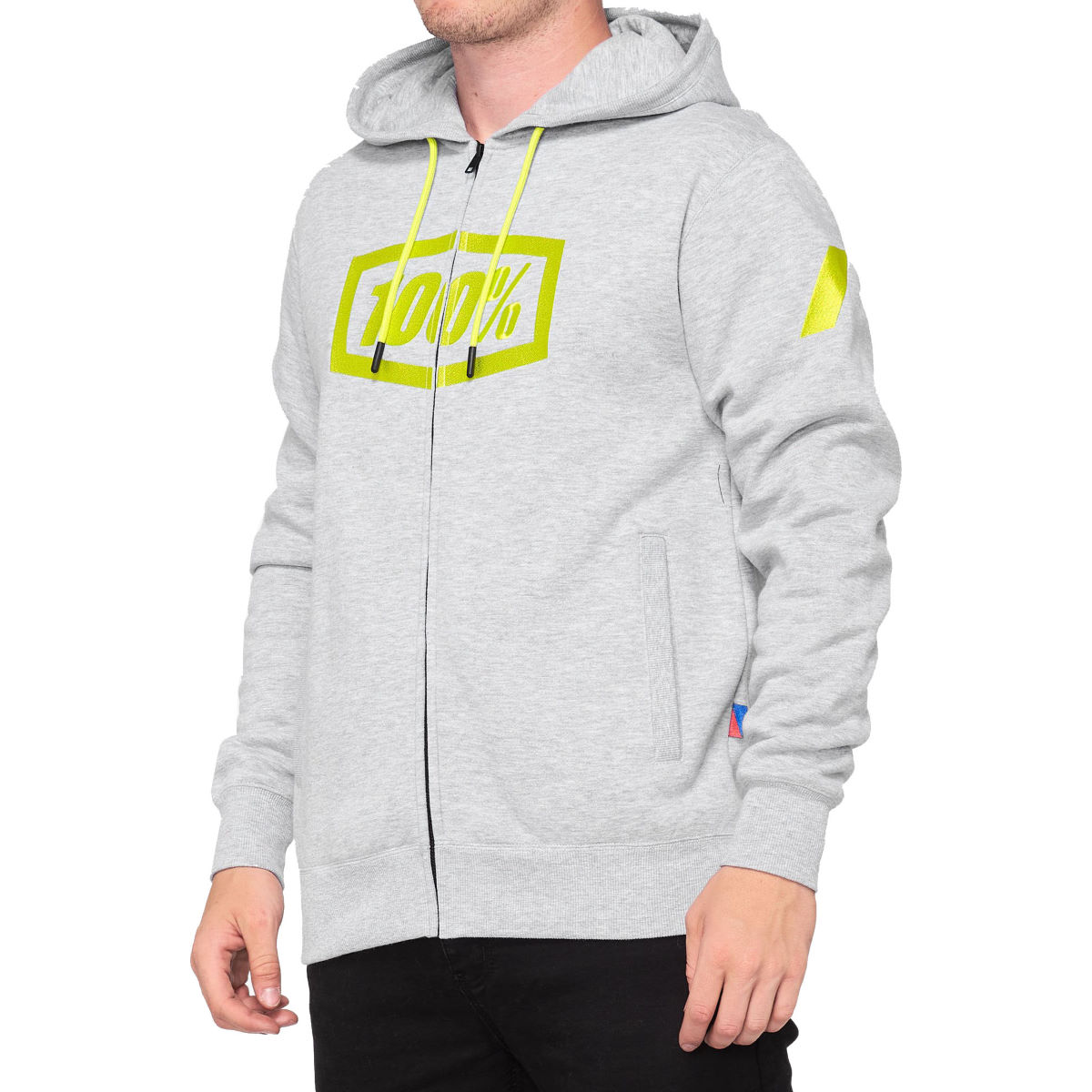 100% Syndicate Zip Hooded Sweatshirt - M Grey/yellow  Sweatshirts