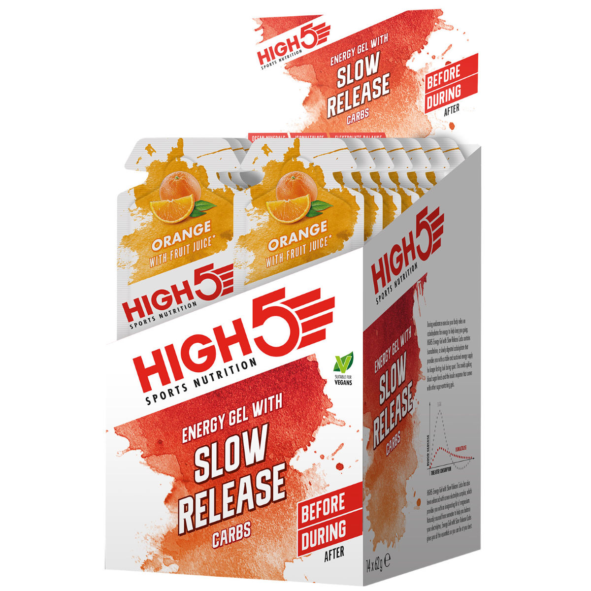 High5 Energy Gel With Slow Release Carbs (14 X 62g) - 14x62g Orange