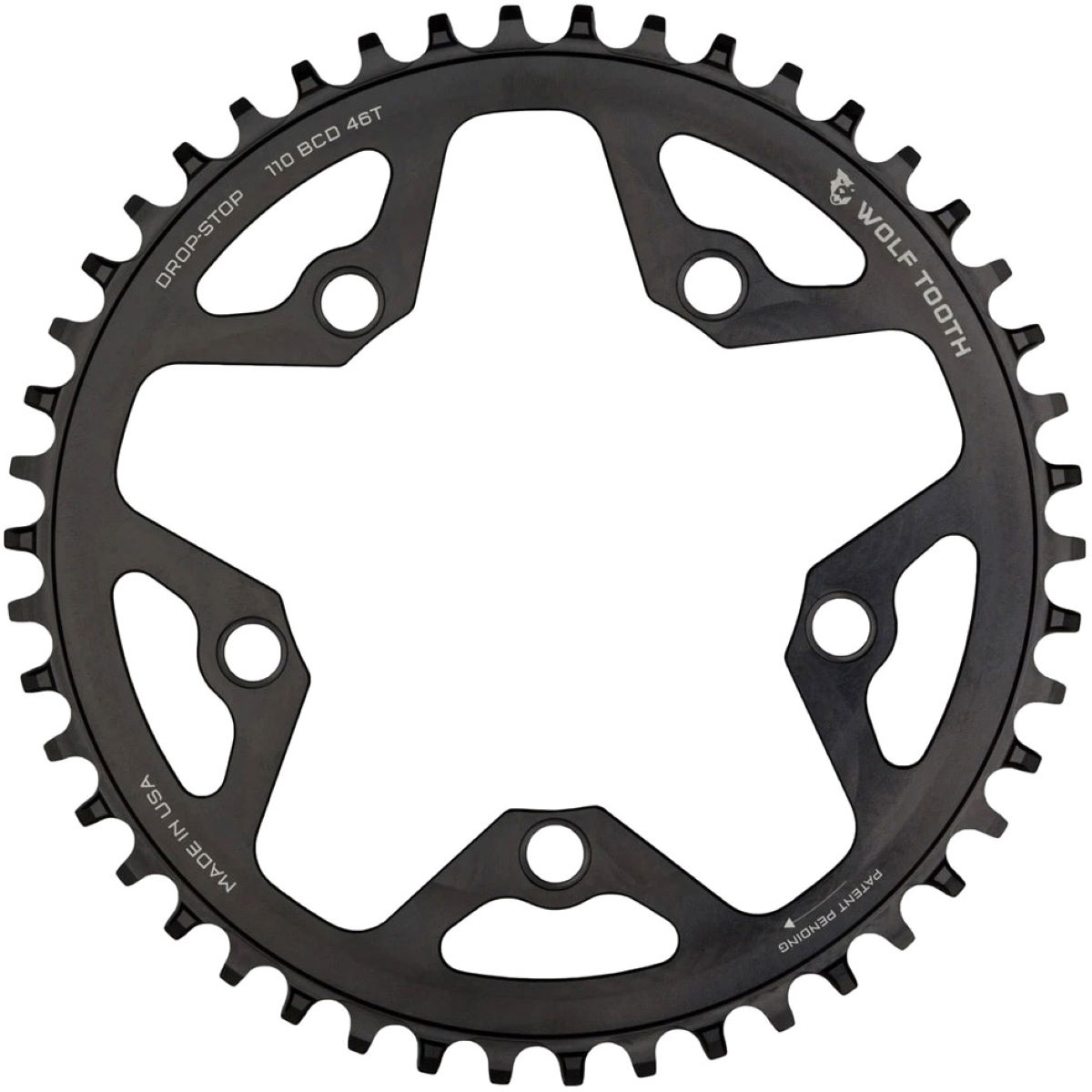Wolf Tooth Flat Top Cyclocross 110 Bcd Chainring - 48t Black
