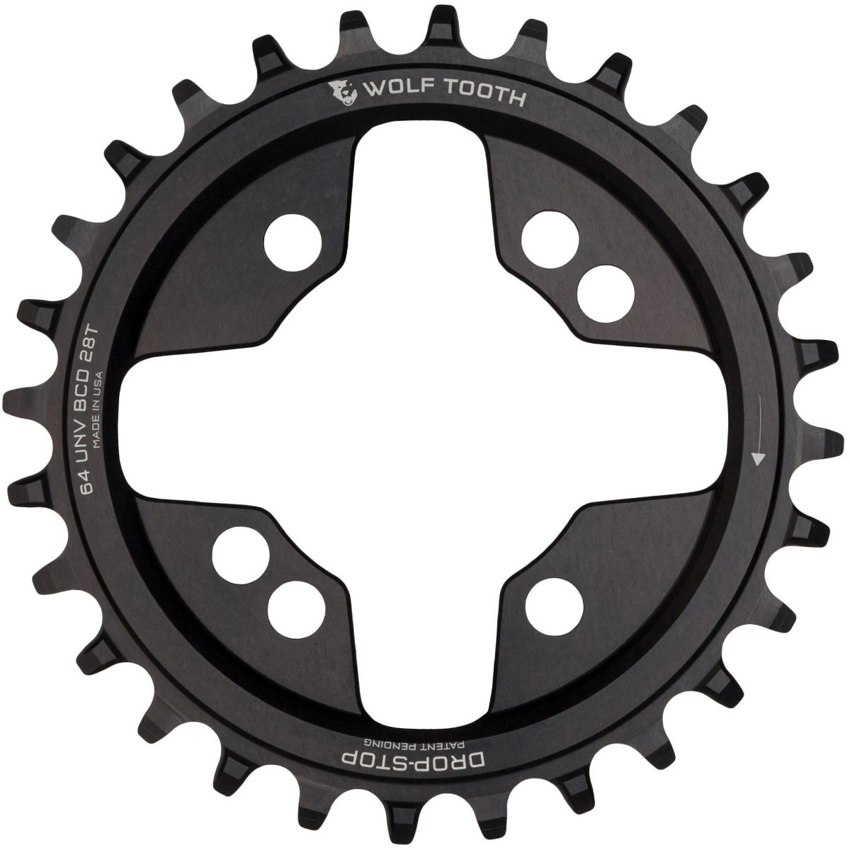 Wolf Tooth 64 Bcd Chainring - 26t Black  Chain Rings