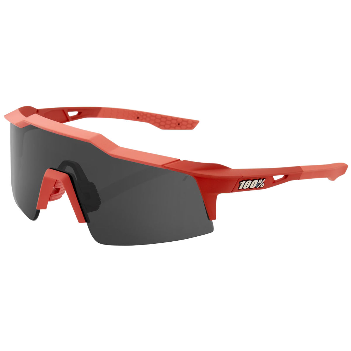 100% Speedcraft Sl Soft Tact Coral Sunglasses - One Size Smoke Lens