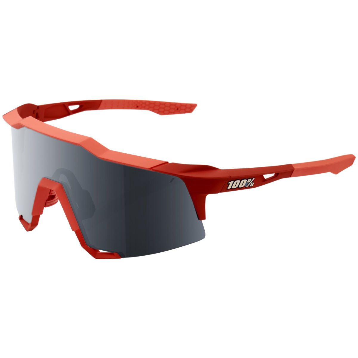 100% Speedcraft Soft Tact Coral Black Mirror Lens - One Size Red