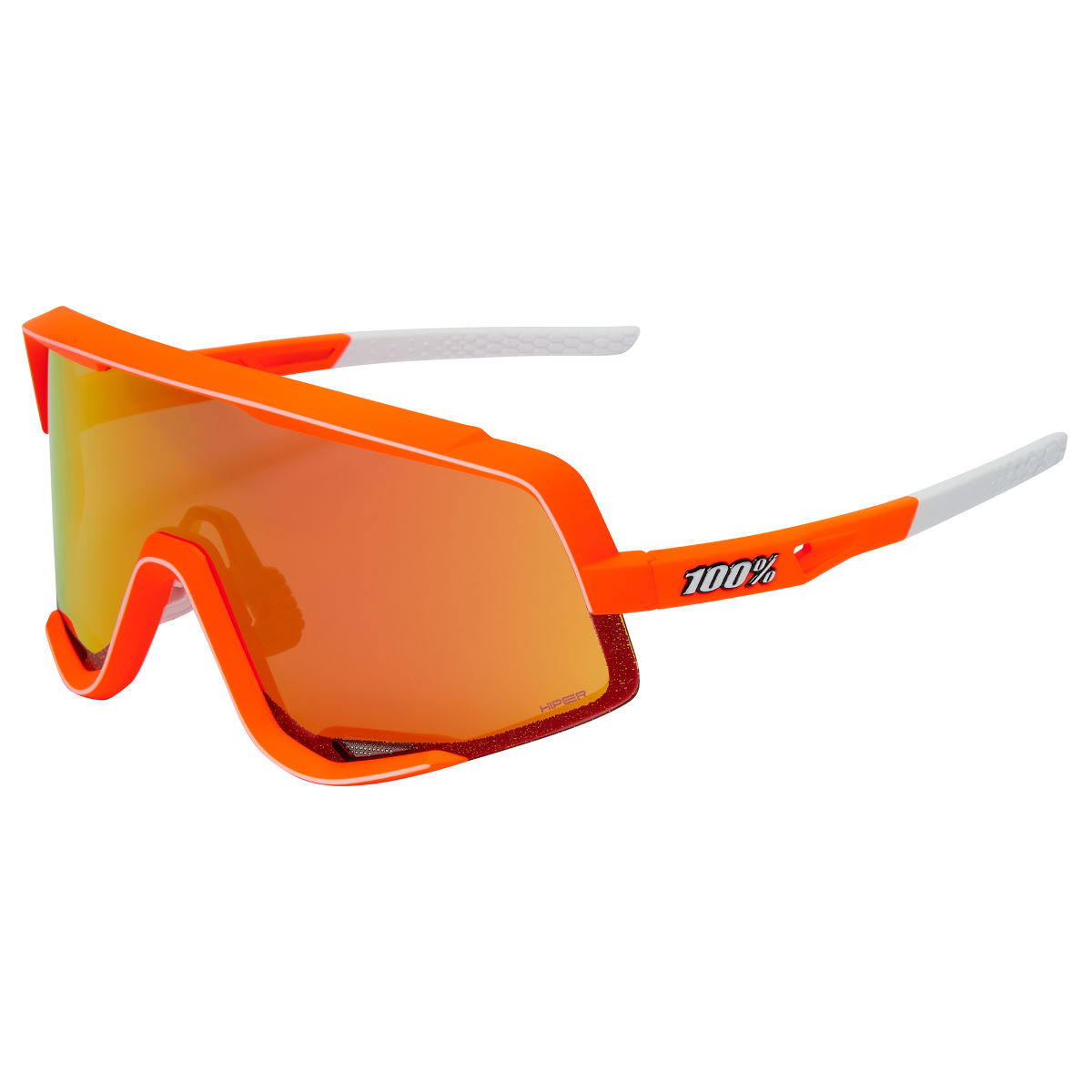 100% Glendale Soft Tact Neon Orange Hiper Sunglasses - One Size