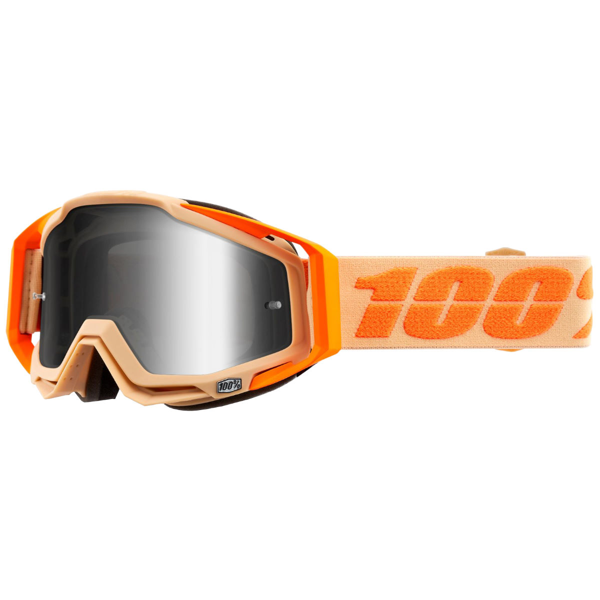 100% Racecraft Goggle Silver Mirror Lens - One Size Orange