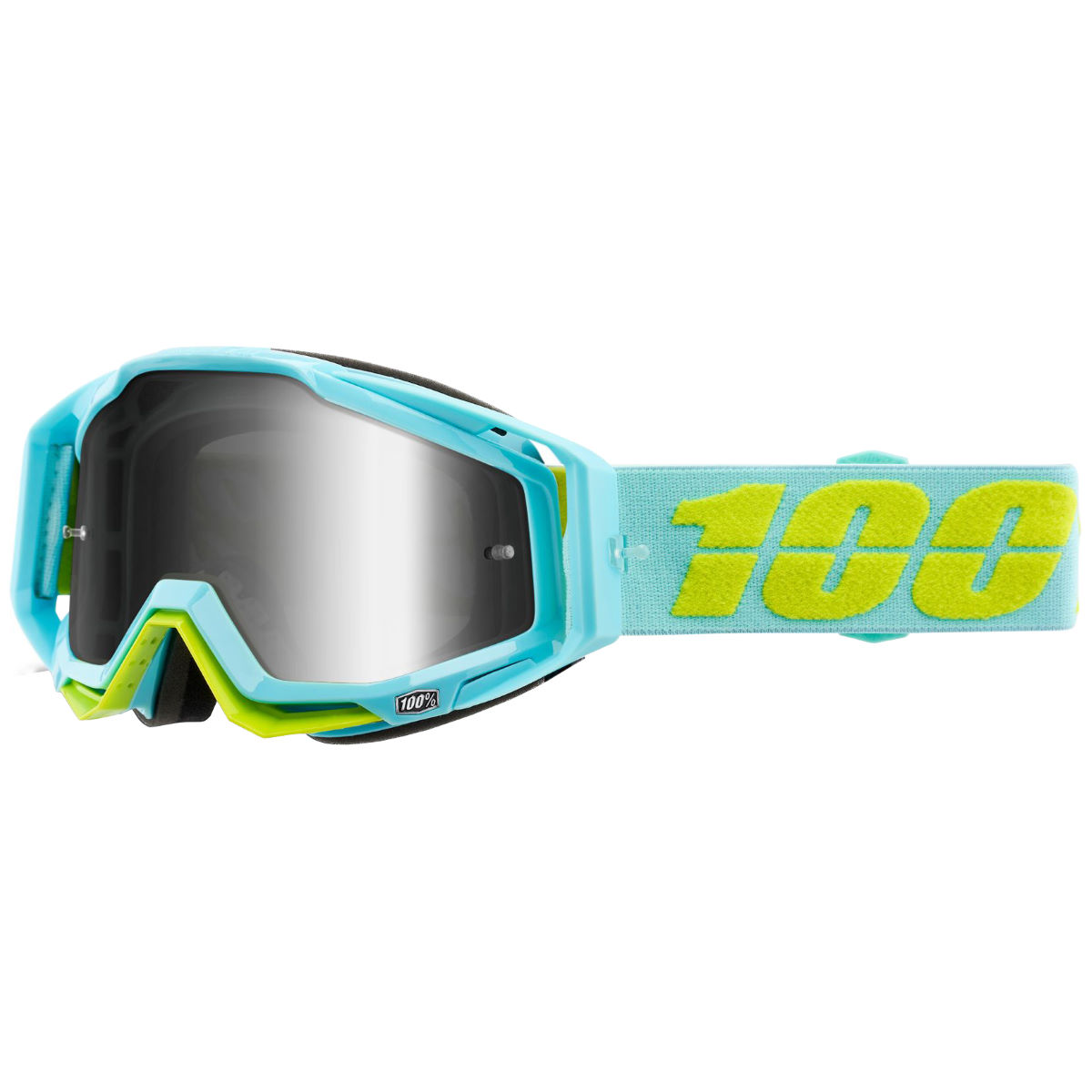 100% Racecraft Goggle Silver Mirror Lens - One Size Turquoise