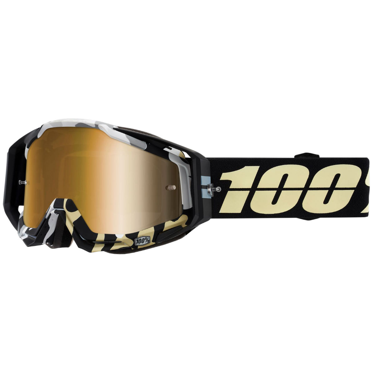 100% Racecraft Goggle Mirror Gold Lens - One Size Black/zebra