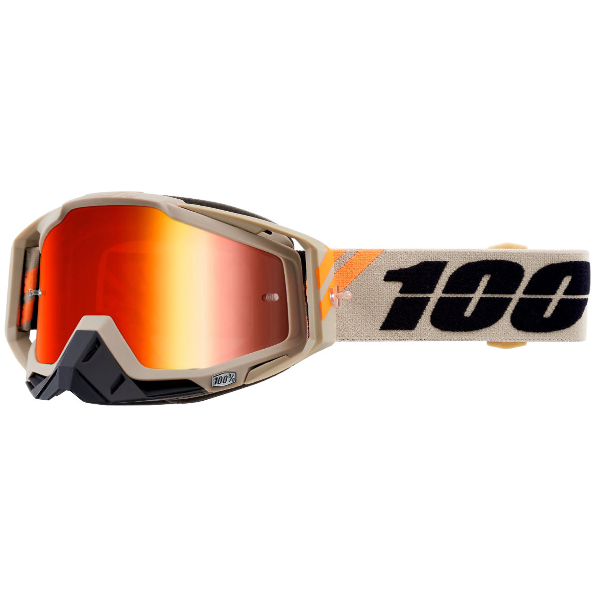 100% Racecraft Red Mirror Lens - One Size Putty  Cycling Goggles