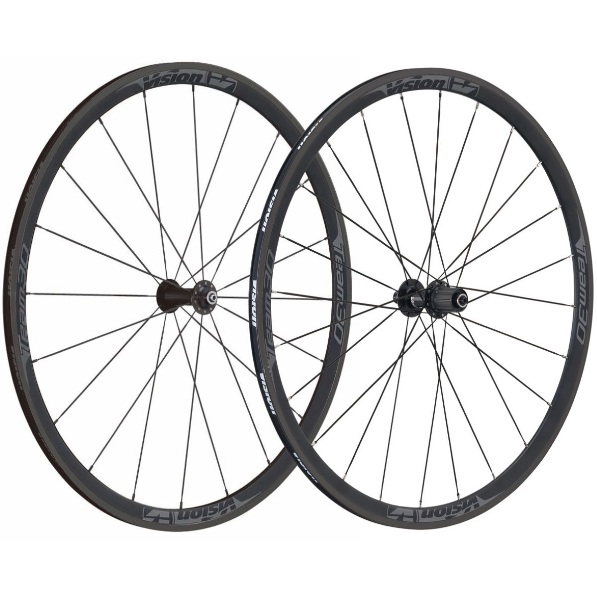 Vision Team 30 Clincher Road Wheelset - 700c Shimano Black And Grey
