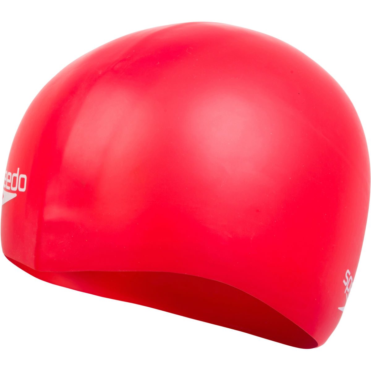 Speedo Plain Moulded Silicone Swimming Cap - One Size Red 3