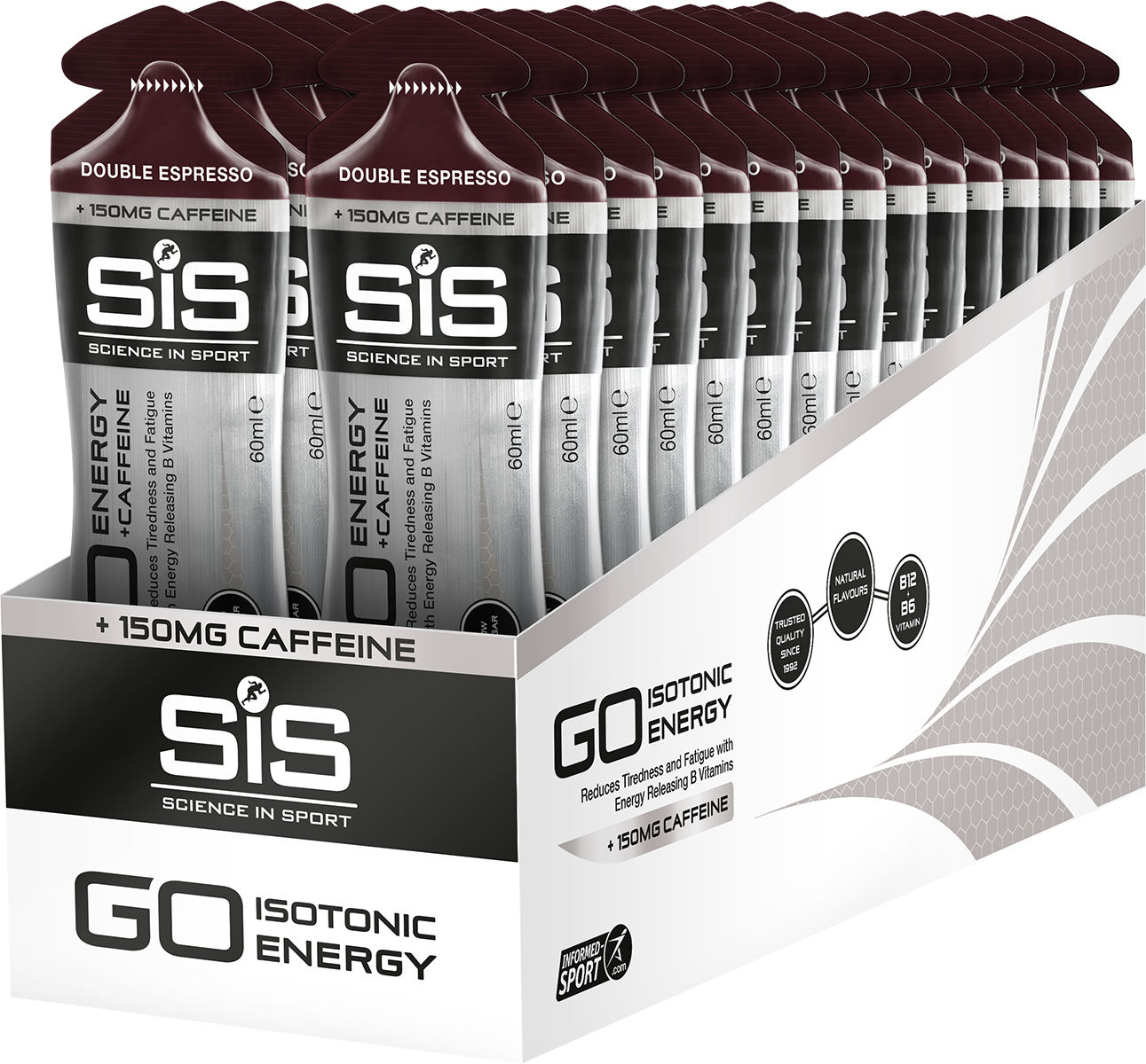6 pack Science In Sport Gel multipack Double Espresso with 150 mg caffeine